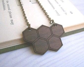 Walnut Geometric Honeycomb necklace - wooden pendant - handmade