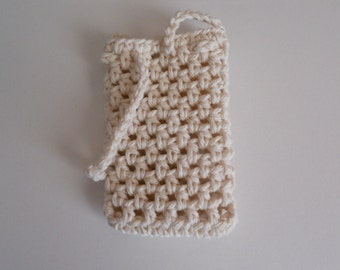Crochet soap saver in ecru, soap sack, soap holder in natural color