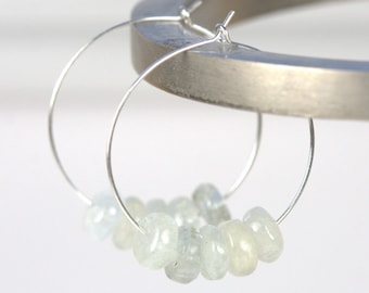 Aquamarine and Silver Hoop Earrings, Silver Earrings,Silver Hoop Earrings, Aquamarine Silver Earrings #100