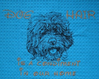 Dog Hair is a Condiment - Tea Towel - Kitchen Towel - Dish Towel - Home Decor - Labradoodle - Ask about your favorite breed