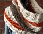Cowl Cleveland Browns Fan Colors Knit Hoodie Neckwarmer Cream Brown Orange