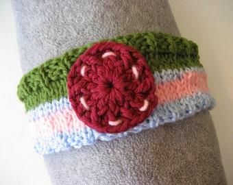 Hand Knit Headband, Maroon Pink Green Blue, Vegan Friendly Acrylic Dreadband Hairband Tube Ear Warmer Dread Sweatband Dreadlock Wrap Bandeau