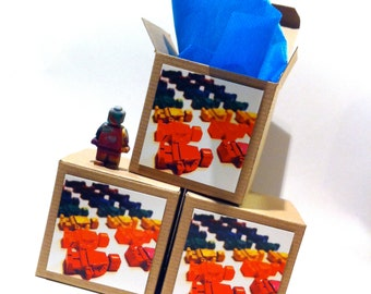 Kid's CRAYONS - Building Block Men Recycled Rainbow Crayons (Set of 8 Recycled Crayons) in Gift Box