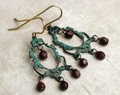 Trujillo  Chandelier Earrings No.2, verdigris Brass Chandelier Earrings, Boho Bohemian Style Earrings, Large