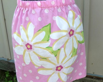 Upcycled Pink Skirt, Clothing, Skirt Handmade, Recycled Pillowcase, Elastic Waist, Spring Summer, Large Flowers, Unique Clothing, Polka Dots