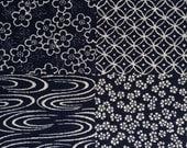 Sevenberry patchwork navy indigo blue Japanese cotton fabric