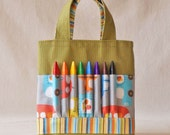 Coloring Tote Crayon Bag Canvas Tote READY To SHIP ARTOTE Mini in All Around the Town