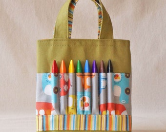 Coloring Tote Crayon Bag Ring Bearer Gift Canvas Tote READY To SHIP ARTOTE Mini in All Around the Town