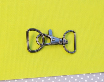 FREE SHIPPING--40 of 1.5 inch with 0.75 inch Loop End Gunmetal Clasps Lobster Claw Hooks and 40 of 0.75 inch Gunmetal D-rings