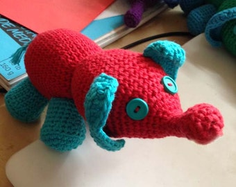 Amigurumi Elephant Stufed Toy in Red and Aqua