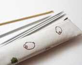 Extra long slim zipper pouch - Japanese laminated fabric Sheep - Pencil case - crochet hook case DPN