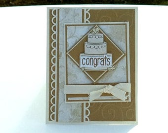 Congrats Wedding Greeting Card, Gold and Cream with Cake, Congratulations, Wedding Day