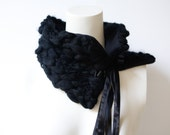Textured Black Tie Scarflette Scarf Cowl