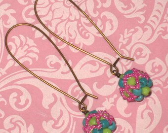 Lime Green, Turquoise and Fuchsia Beaded Beads on Antique Brass Elongated Kidney Ear-wires