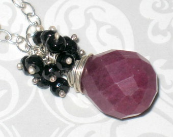 Plum Jade Drop with Onyx Bead Cluster on Sterling Silver Chain Necklace
