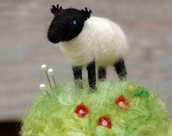 Suffolk Lamb in the Red Flowers - Mini Sheep on a Meadow Needle Felted Pincushion