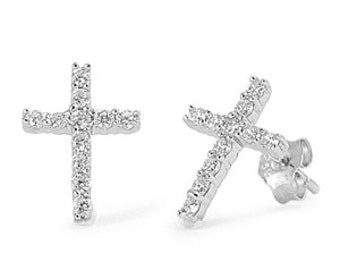 Sterling Silver Cubic Zirconia Cross Stud Post  Earrings- First Communion Earrings, Confirmation Earrings, Cross Earrings