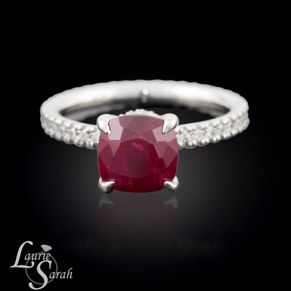 Ruby Ring, Fang Prong Ring, Diamond Engagement Ring, Created Ruby Ring, French Pave Ring - LS1490