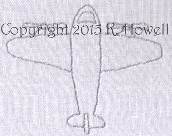 Airplane Hand Embroidery Pattern