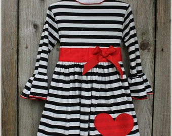Custom Boutique Clothing Valentines Black White Stripe Red Heart Sash Comfy Knit Holiday Dress