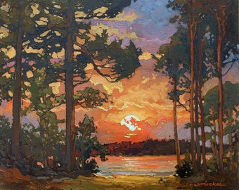 Peninsula Sunset - Giclee Fine Art PRINT of Original Painting matted 16x20 by Jan Schmuckal
