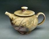 Woodfired Teapot - with Stylized Fern Textured Design