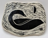 swan in moonlight, facing right, hand carved ceramic art tile