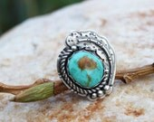 Royston Turquoise Feather Cabochon Sterling Silver Ring, size 6.25, rustic, artisan, metalwork, handmade, Boho, Bohemian, Gypsy, Cowgirl