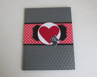 Happy Anniversary Dry Embossed Hand Stamped Red and White Polka Dots Hand Made Greeting Card.