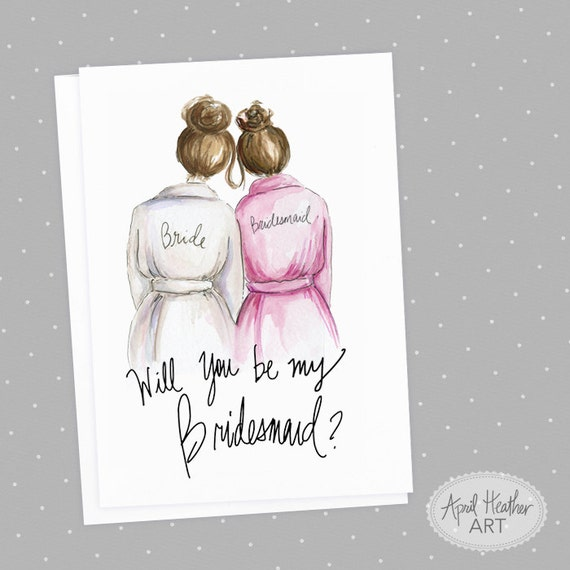 Free Bridesmaid Invitation Templates | Bridesmaid Pdf Brunette Bride And Brunette Bridesmaid Will