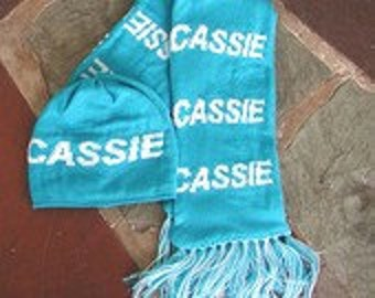 Personalized Knit Scarf and Beanie