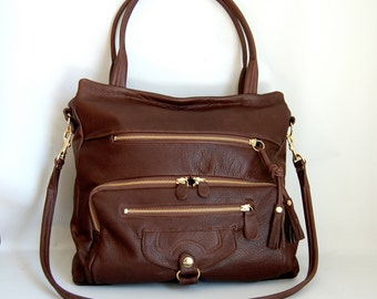 SALE - Willow leather tote bag in chocolate - gold tone hardware