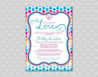 All You Need is Love Bridal Shower Invitation - Printable