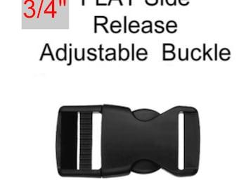"""20 BUCKLES - 3/4"""" - FLAT Adjustable Side Release, Strap Adjuster, Plastic BLACK"""