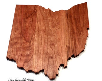 Small Ohio State Shaped Cutting Board / Trivet by Tony Reynolds Designs. Great Handmade Gift Idea