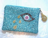 Golden Tear Small Glitter Clutch Purse Makeup Bag Handmade by Cutie Dynamite