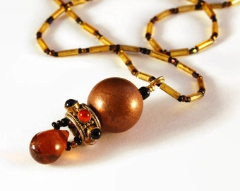 Necklace Honey Drop Pendant  Beaded Upcycled, Rehab, Tube Beads, Golden Copper Amber