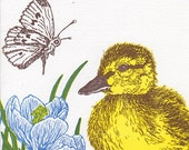 Duckling, Butterfly and Crocus Card Letterpress Printed with Original Illustration Yellow, Blue, Brown and Green