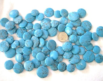 Chalk Turquoise Flat Round Lentils Beads 4 Different Sizes