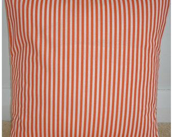 """Orange and White Pillow Cover 20x20 Square Cushion Case 20"""" Sham Case Pillowcase Thin Stripe Stripes Striped Stripey Cotton Modern Throw"""