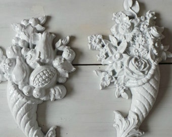 Vintage Shabby Chic wall decor, Cottage Chic, Fruit wall hanging, Flower wall decor, Retro Kitchen Decor, Homco, white wall decor