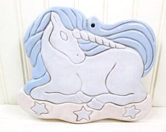Vintage Ceramic Unicorn Wall Plaque Hanging 1980s Art Retro