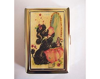 retro poodle metal wallet vintage 1950's rockabilly cigarette case kitsch business card holder