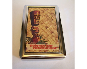 retro tiki metal wallet vintage 1950's rockabilly cigarette case kitsch