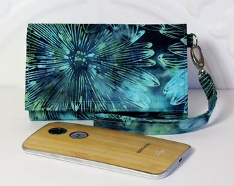 Cell Phone Wallet Wristlet for your Smart Phone With Card Wallet / iPhone 5/6 / Galaxy / Moto X / NEW STYLE TECH  / Aqua Teal Floral Batik