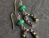 SALE!!!  30% OFF!!!  Sterling Silver and Turquoise Horseshoe Earrings