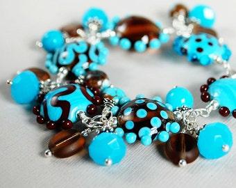 Blue Skies and Chocolate Lampwork, Crystal, and Sterling Bracelet - Blue and Brown Bracelet - Artisan Lampwork Bracelet