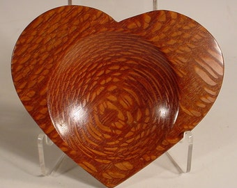 Heart Shaped Exotic Leopardwood Ring Dish Number 5878