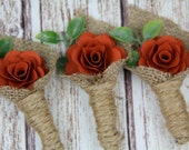 Burnt Orange Boutonniere