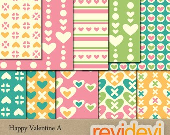 Valentine digital papers downlaod pastel colors / valentine papers printable / heart scrapbook papers, patterned paper